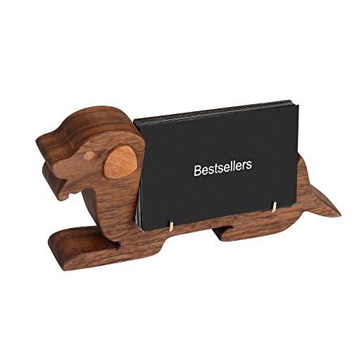 名刺スタンド 名刺立て カードスタンド カードホルダー カード立て ホテルフロント 雑貨 文具 卓上 横置き 木 動物デザイン (ブラック, 座る犬)
