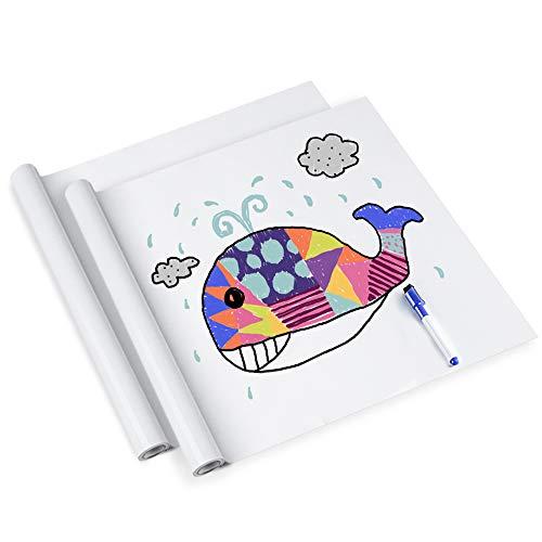 rabbitgoo Whiteboard Folie, Selbstklebende Weißwandtafel Folie Whiteboard Sticker DIY Whiteboardfolie Kreidetafel Wandaufkleber mit Whiteboard Stift - Weiß 44.5 x 199cm x 2 Pack