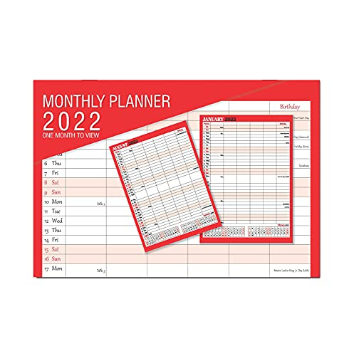 2022 one Month to View Monthly Planner Calendar Wall Hanging Organiser,Boldtype Series by Arpan