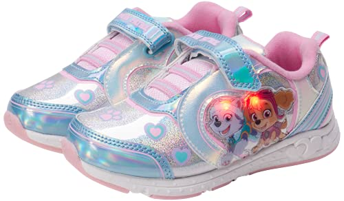 Nickelodeon Girls' Paw Patrol Sneakers - Laceless LED Light Up Running Shoes (Toddler/Little Kid),...