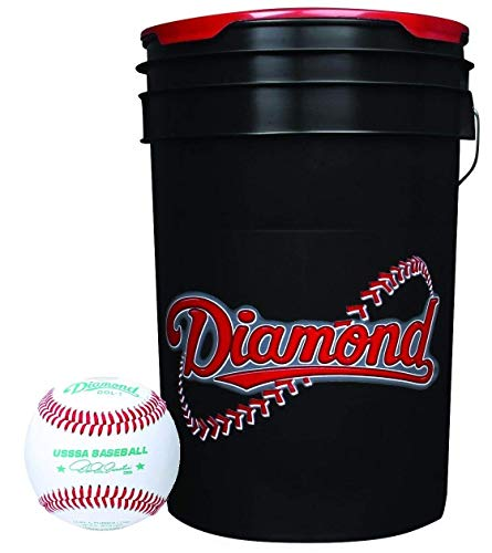 Diamond DOL-1 USSSA Baseballs (30 Total) with 6-Gallon Cushion Lid Ball Bucket