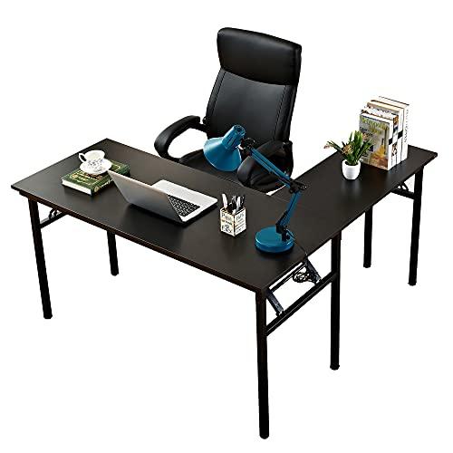 SogesHome Escritorio de ordenador, escritorio plegable en forma de L, mesa plegable, escritorio de oficina, escritorio de oficina, escritorio grande, AC11CB