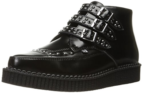 T.U.K. Shoes Men's 3 Buckle Black Leather Studded Pointed Creeper Boot EU38 / UKW5