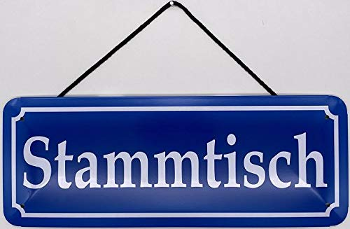 Blechschild Con cordón, 27 x 10 cm, mesa de tronco - Blechemma