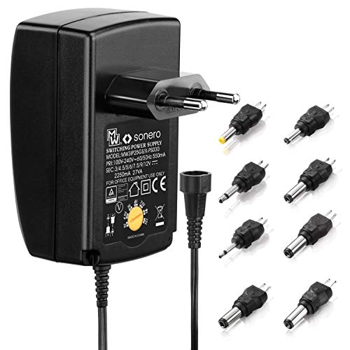 Sonero X-PS030 Universal Stecker Netzteil (3V-12V Drehschalter) mit 9 Adaptern inkl. USB 2250mA, schwarz