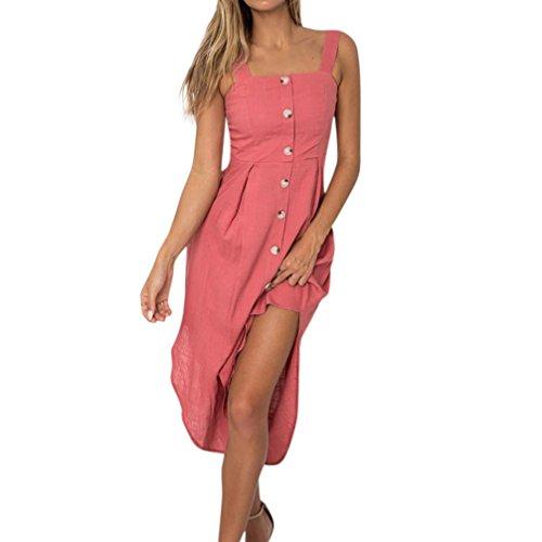AMUSTER Damen Kleider Frauen Sommerkleider Frauen Urlaub Unregelmäßiges Kleid Damen Sommer Beach Party Kleid mit Knöpfen Vintage Maxikleid Langes Kleid A Line Kleid (S, Rosa)