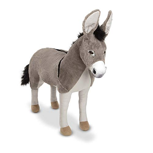Melissa & Doug Lifelike Plush Donkey Giant Standing Stuffed Animal (2.5 Feet Tall, Great Gift for Girls and Boys - Best for 3, 4, 5 Year Olds and Up)