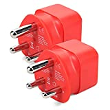 kwmobile 2X Adaptador de Viaje Tipo M - Set de adaptadores para Usar en Sudáfrica India Nepal etc. - Travel Plug para aparatos de España y UE - Rojo