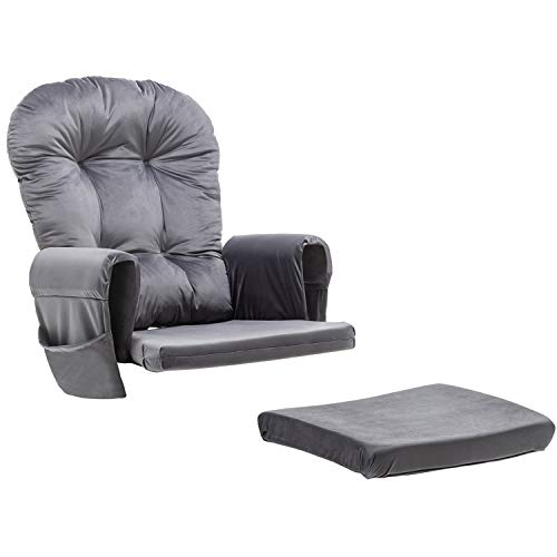 Paddie Glider Rocking Chair Replacement Cushions Velvet Washable for Chairs & Ottoman, Dark Grey
