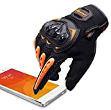 ARTOP Guantes Moto Anti-deslizante Anti-colisión con Dedo Táctil muy Buena Protección para Hombres(Naranja,XL)