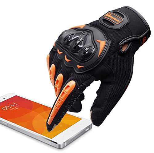 ARTOP Guantes Moto Verano Anti-Deslizante Anti-Colisión con Dedo Táctil Muy Buena Protección para Hombres(Naranja,M)