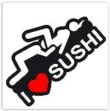 Biomar Labs® 2 x Adesivi Vinile I Love Sushi per Auto Moto Finestrìno Scooter Bici Motociclo Tuning B 90