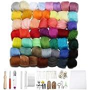 Jeteven 50 Farben Filzwolle Queenslandwolle (70s) mit Werkzeug Set (15 Arten=62er), geeignet für Nassfilzen und Trockenfilzen