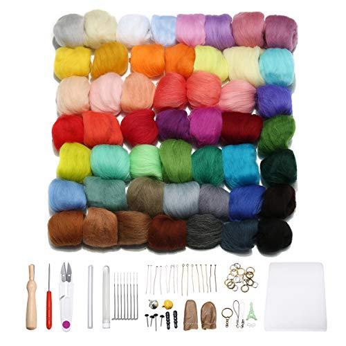 Jeteven® 50 Farben Filzwolle Queenslandwolle (70s) mit Werkzeug Set (15 Arten=62er), geeignet für Nassfilzen und Trockenfilzen