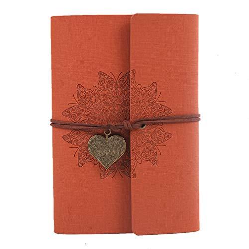 Tomaibaby Cuaderno Vintage Cuaderno de Viaje Cuaderno Clásico Libro de Notas de Cuero de Imitación con Páginas en Blanco/Colgante Retro (Naranja)