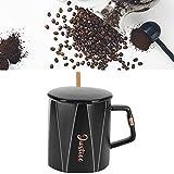 Tazza da ufficio, comoda da tenere in ceramica tazza con cucchiaio e coperchio per la casa, caffetteria, ristorante, per viaggi di studio in ufficio(Alphabet ceramic mug (D type) spoon with lid)
