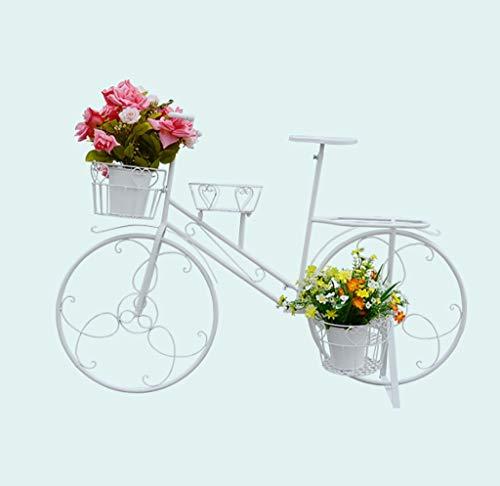 SMHJ Porte-Plantes Style Bicyclette en Fer forgé - pour Jardins, terrasses, Jardins d'hiver ou à la Maison Blanc