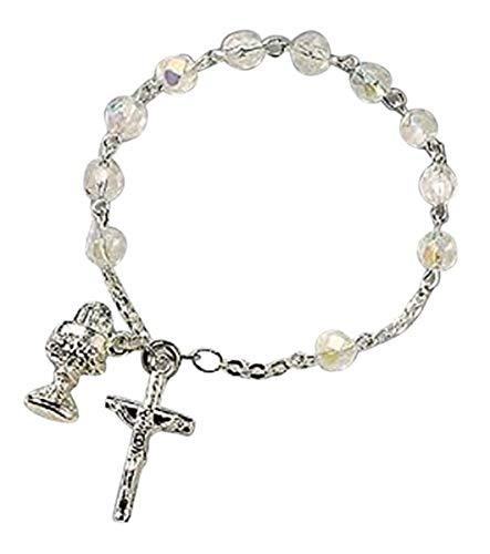 "Catholic Girls Rosary Bracelet First Communion Rosary Bracelet, Material: Glass 6 Mm Bead/silver Plate Size: 7"" L"