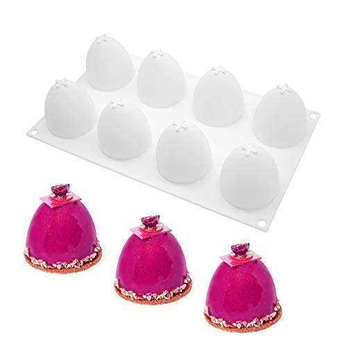 enduo Multifunktion Mousse-Kuchenform Silikon backformen für Kuchen - 3D backform DIY Dessert Mould 8 Löcher halbes Ei