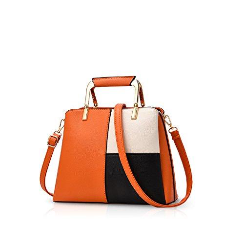 NICOLE&DORIS Frauen Farbe Einfache Handtaschen Umhängetasche Crossbody Messenger Bag Tote Schultasche für Lady PU Leder Orange