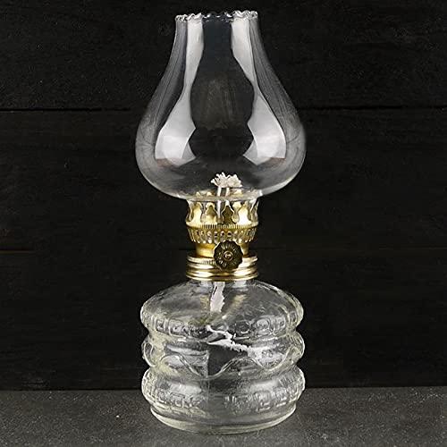 KOLIT Lámpara de Aceite de Vidrio Altura 19 cm Lámpara de Queroseno Pasado de Moda, Incluye Quemador y Tubo de Vidrio, Base de Lámpara, Lámparas de Emergencia