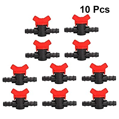 Yardwe 10 Pack Drip Irrigation Barbed Ball Valve 16mm 1/2 Inch Drip Irrigation Tubing Shut-Off Valve Drip Irrigation Parts from Yardwe