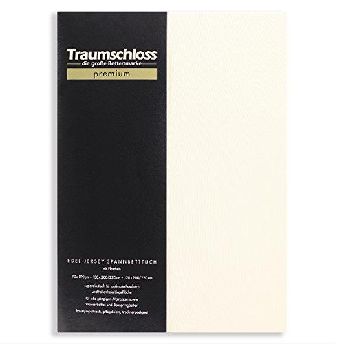 Traumschloss Edel-Jersey Spannbetttuch Premium | Creme | Mako Baumwolle mit Elasthan | Hautsympathisch, samtweich & angenehm zur Haut | 160-180 cm x 200-220 cm