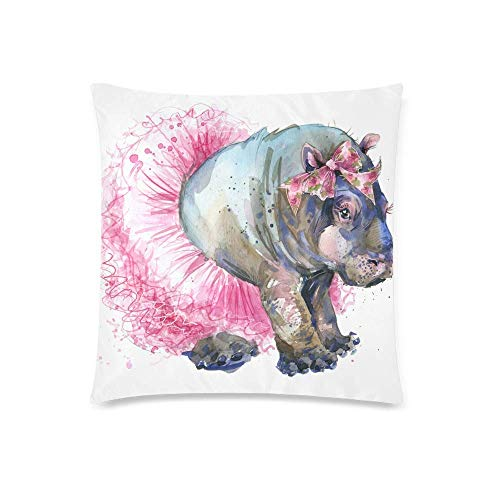 Watercolor Cute Little Pug Dog with Donuts Decor Throw Cushion Pillow Case Cover, Square Zippered Pillowcase Protector