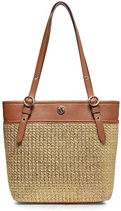 Anne Klein Straw Pocket Tote Natural product image