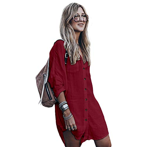 Women's Swimsuit Cover up,Silky T Shirt Button Midi Dress Kimono,Summer Bathing Suit Beach Coverups for Women (CP-Aline) (Red (46), L (US 14-18))