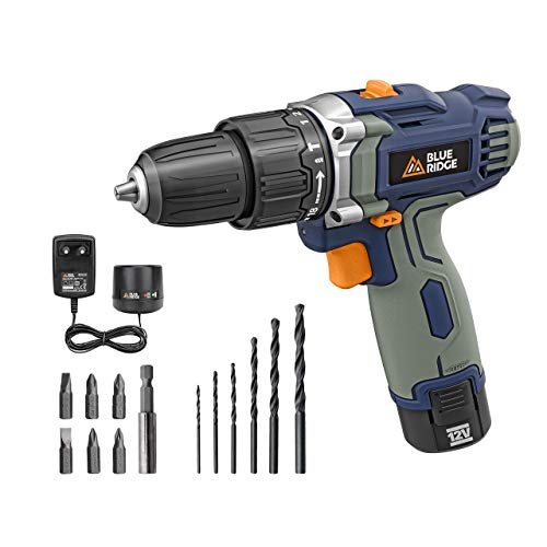 BLUE RIDGE 12V Cordless Impact Drill 25Nm with Integrated 1.5Ah Lithium-ion Battery, 10mm keyless Chuck, Variable Speed, 13 pcs Free Accessories, 1-Hour Fast Charger