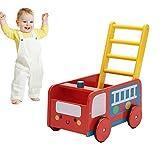 labebe Lauflernwagen Holz, 2-in-1 Verwendung als Laufwagen, Roter Löschfahrzeug Lauflernhilfe für...