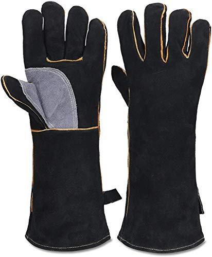 Guantes de trabajo de seguridad, resistentes al calor, guantes de algodón y cuero con mangas largas, perfectos para parrilla, horno de pan, barbacoa, frigorífico, chimenea, cocina