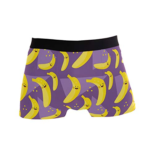 BONIPE Herren Boxershorts, Bananen-Muster, Stretch, atmungsaktiv, niedrige Höhe, Größe S Gr. M, Mehrfarbig