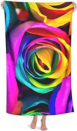 Toalla de Playa Grande 80x130cm,Acuarela Arco Iris Rosa ,Toalla Microfibra,Suave,Absorbente Viaje Toallas de Mano de Hombres,Niños,Natación,Playa,Camping