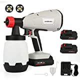 Anbull Cordless Paint Sprayer Gun Electric with 2X Battery, 800w 1000ml Li Battery Wireless Spray Gun for Indoor & Outdoor Paint Spraying, Watering. (1.8 &2.6mm, 3 Spraying Modes)