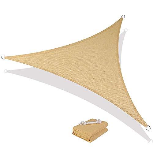 SFSGH Toldo de protección Solar de HDPE Transpirable para toldo para jardín al Aire Libre, Patio, Fiesta, Bloque UV, triángulo, Color Arena, Permeable al Agua y al Aire, para instalacion