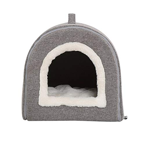 LLF Plush Pet Kennel, Four-season General-purpose Dog and Cat Kennel, Removable and Washable Tunnel Kennel for Small Dogs and Cats (Color : Gray, Size : 38 * 38 * 36cm)