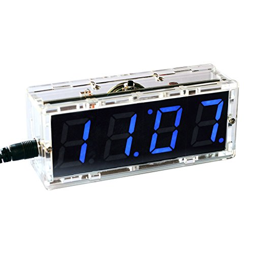 Gearwoo 4-Digital DIY Clock Kits, LED Talking Clock with Speaker, PCB for Soldering Practice Learning Electronics +Transparent Case+ English Instructions, CR1220/CR1216 Batteries are NOT Included