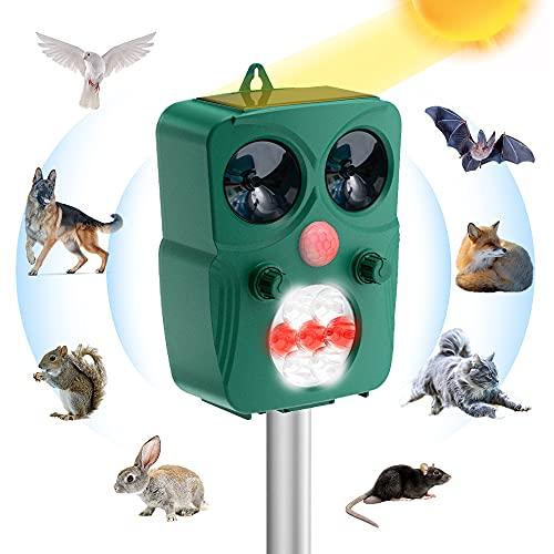 Geniusho Repellente per Gatti, Ultrasuoni Solare Repeller Impermeabile 5 Modalità a Frequenza Regolabile Dissuasore per Piccioni, Uccelli, Cani, Gatti, Topi,Volpi,Animali