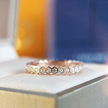 Korean Honeycomb Inlaid Stone Rings Female Ring Circle Rose Gold Ring Geometry Diamond Rings for Women 6-Full Crystal,Rose Gold