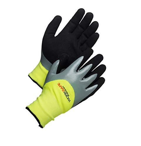 Worksafe Arbeitshandschuhe Winter, atmungsaktiv, abriebfest, wasserdicht, P30-120W – 1 Paar, Gr. 9=L, gelb/schwarz
