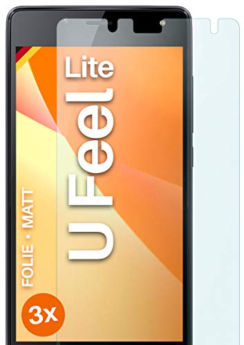 moex Schutzfolie matt kompatibel mit Wiko U Feel Lite - Folie gegen Reflexionen, Anti Reflex Bildschirmschutz, Matte Bildschirmfolie - 3X Stück