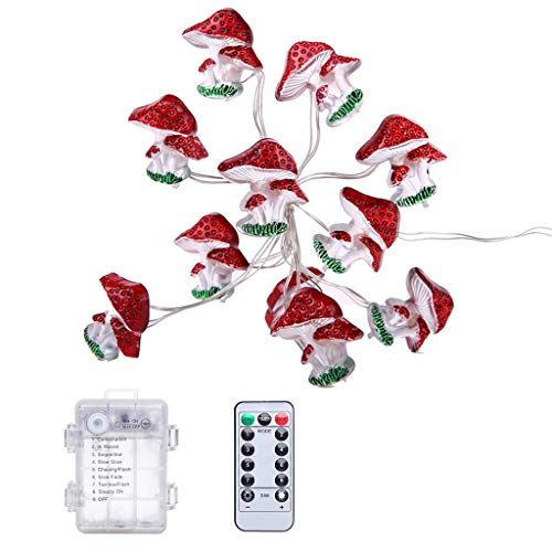 Fugift Mushroom LED String Lights, 30M 30LEDs Christmas Decorations Battery Powered Princess String Lights for Girls Bedroom Indoor Dorm Room Outdoor Holiday Party DIY Decor
