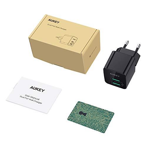 AUKEY USB Netzteil, USB Ladegerät Ultra Kompakt 2,4A 2 Ports USB Stecker mit AiPower Technologie für iPhone XS/iPhone XS Max/iPhone XR, iPad Air/Pro, Samsung, HTC, LG usw.