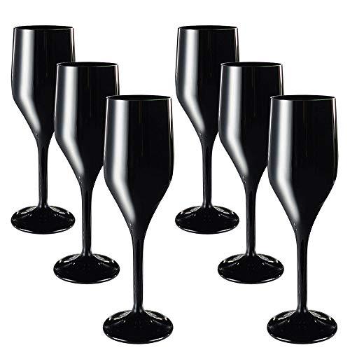 DoimoFlair Sektglas aus Kunststoff Bruchsicher Sektkelch Plastik Schwarz 16 cl. Set 6 Stück