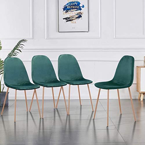 GOLDFAN Moderner 4er Set Esszimmerstuhl Küchenstuhl Polsterstuhl Wohnzimmerstuhl Sitzfläche aus Samt Metallbeine, Grün