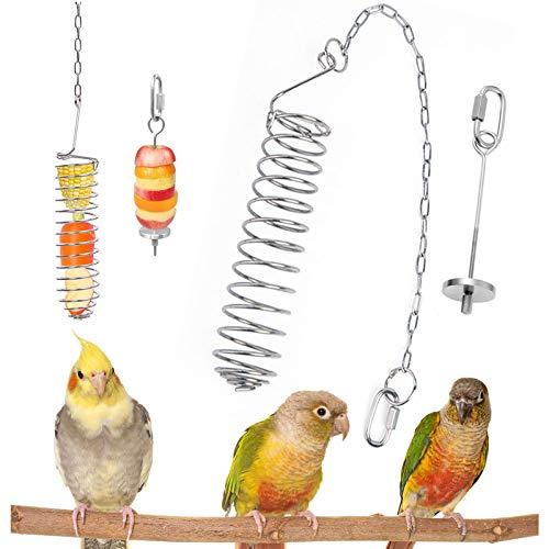 1 Piezas Comedero para pájaros con Cadena+1 Piezas Titular Fruta Pájaro, Acero Inoxidable alimentador para Colgar para Periquito Cacatúa Guacamayo