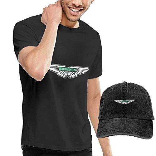 Camisetas y Tops Hombre Polos y Camisas, Custom Aston Martin Car Logo T Shirt with Hats for Men 100% Organic CottonShort Sleeve Black