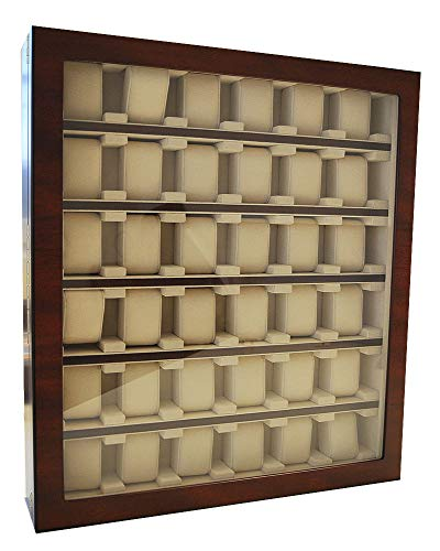 Uhrenvitrine Wand - Tischvitrine für 36 Uhren Farbe Light burl